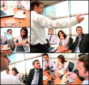 Collage of people at business meetings